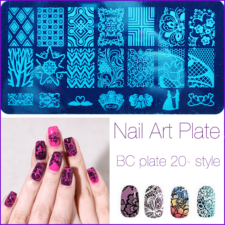 20 Patterns Stainless Steel Nail Art Stamping Plates Nail Seal Manicure Polaco Printer Tool Templates Nail Stamp Stencils 2016(China (Mainland))