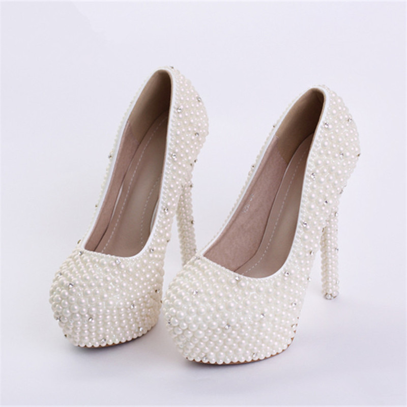 New handmade ivory wedding shoes round toe crystal high for Heels for wedding dress