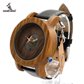 BOBO BIRD K09 Wooden Watches Fashion Silver Needle with Leather Band Casual Red Sandal Wood Clock