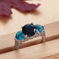 high quality 2016 fashion new romantic design silver plated pave blue zircon wedding ring jewelry for women engagement