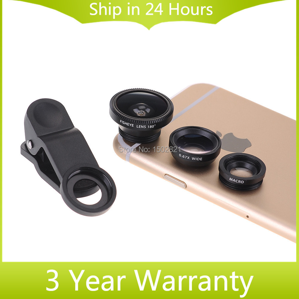 2016 Clip on 3 in1 Cellphone Camera Lens Kits Fish-Eye + Wide Angle + Micro Lens for iPhone Samsung HTC SONY Nokia Smartphones