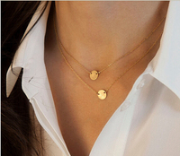 Star Jewelry Fashion Gold Plated Cute Round Choker Necklace For Woman 2015 New Pendant Necklaces HOT JL10