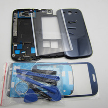 Replacement Phone Parts New For Samsung Galaxy SIII S3 GT-i9300 Full Housing Case Cover & Front Outer Glass & Glue & Tools(China (Mainland))
