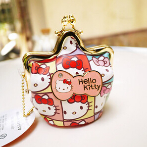 hello kitty purse women new 2015 cute bow spell color buckle pu leather coin purse bag women's coin purse gv206(China (Mainland))