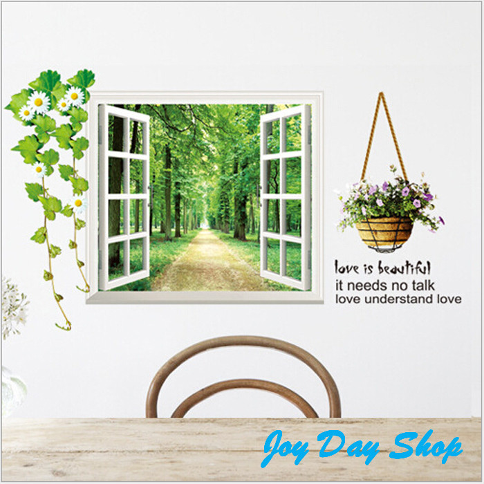 """False Window Scenery""""The Beautiful Is needs """"Quote Decal PVC DIY Removable Art Home Wall Stickers Flower sticker(China (Mainland))"""