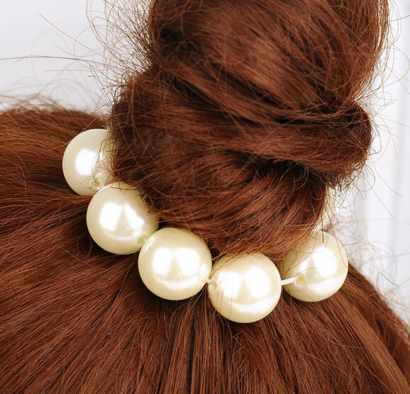 2015 Fashion big Pearl ribbon hair rope hairbands headwear handmade elastic Big Pearl Hairbands for women girls 4colors(China (Mainland))