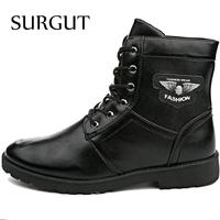 Hot Sell Retro Combat Boots Spring Autumn England-style Fashionable Men's Short Black Shoes Quality pu Leather Military Boots