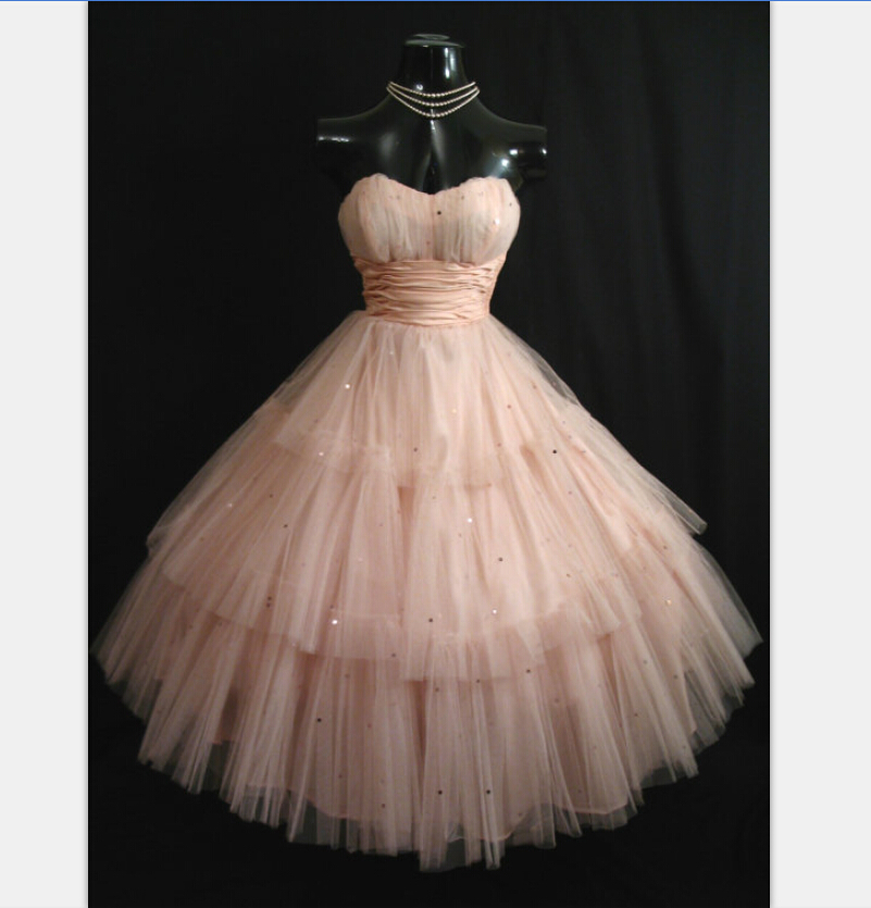 actual image vintage 1950s tea length pink prom dresses