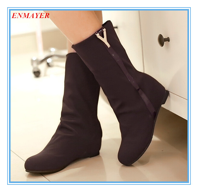 ENMAYER Fashion Mid-Calf boots beautiful solid Lace-Up+ Sequined RoundToe Wedges for girl Senior Lai Kabu winter bootsSize:34-43<br><br>Aliexpress