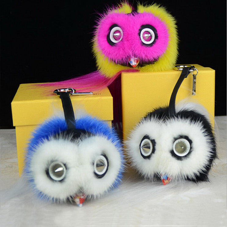 2015 Fashion Bag Pendant Genuine Fur Accessory Mobile Phone Pendant Bag Pedant Cute Owl Pendant(China (Mainland))