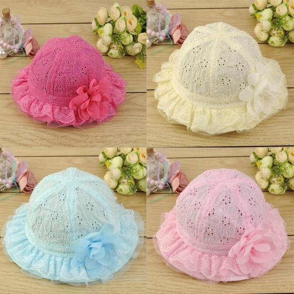 Wholesale Newborn Hollow Sun Cap Pure Color Lace Sun Hat Summer Beach Bucket Flower Hat