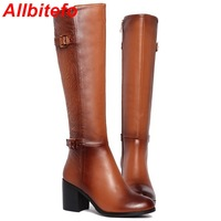 2015 new genuine leather + PU women boots fashion ladies knee boots for women sexy long boots winter motorcycle boots,size 33-43
