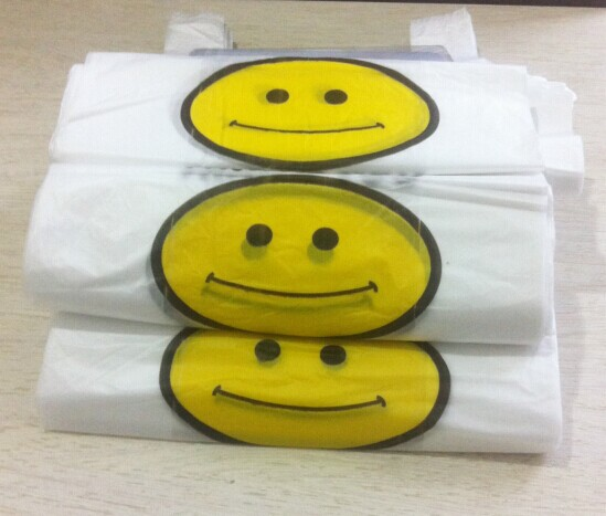 7521 wholesale 20*32cm smiley vest bag supermarket plastic bags Ma Jiadai food plastic bags(China (Mainland))