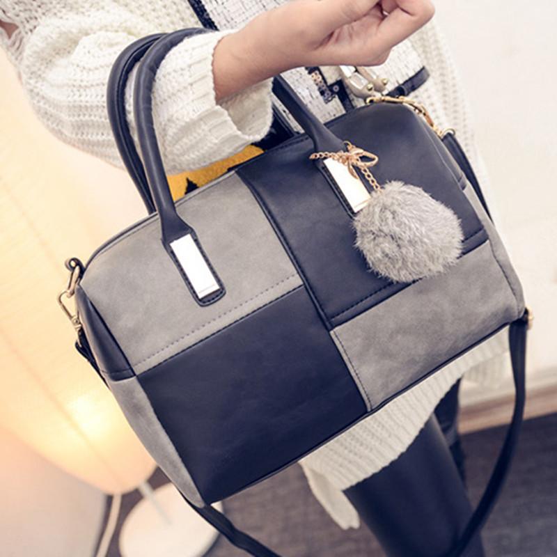 New Hot crossbody Women bag bolsa feminina 2015 Fashion handbag pillow style Hairball PU shoulder  bag <br><br>Aliexpress