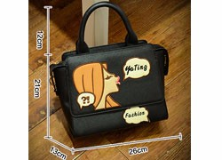 Exquisite Embroidery Fashion Shoulder Bag Lovely Girl Small Bag Ladies Cartoon Printing Handbag Ladies Designer PU Crossbody Bag