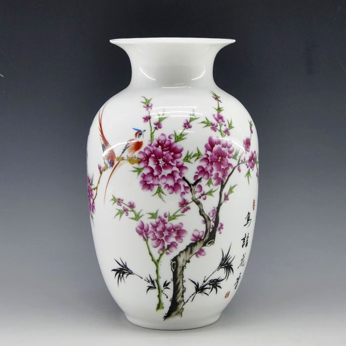 Mini delicate chinese famille rose porcelain flower vase birds and flower for home decor(China (Mainland))