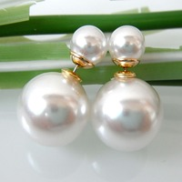 Navachi White Pearl Big Ball 18K Yellow GP Multicolor Little Ball Fashion Stud Earrings Free shipping SMT2815