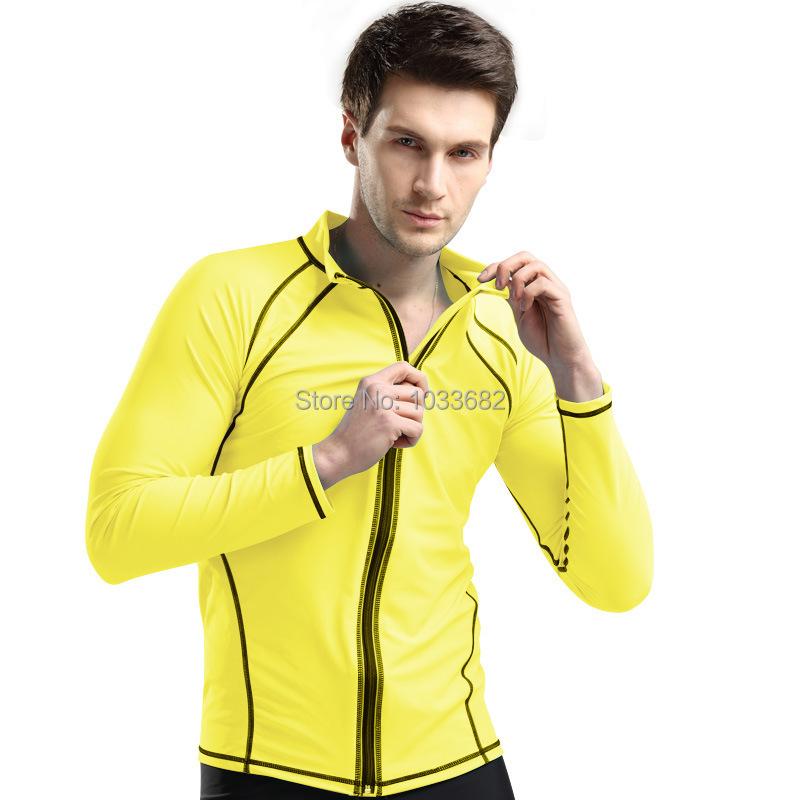 Sbart Men Long Sleeve Rash Guard quick dry zipper shirt tights Surf Lycra white wetsuit(China (Mainland))