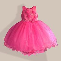 New Year Girls Party Dress 3D Flowers Tutu wedding Christmas children clothing kids dress size 3-8 Year