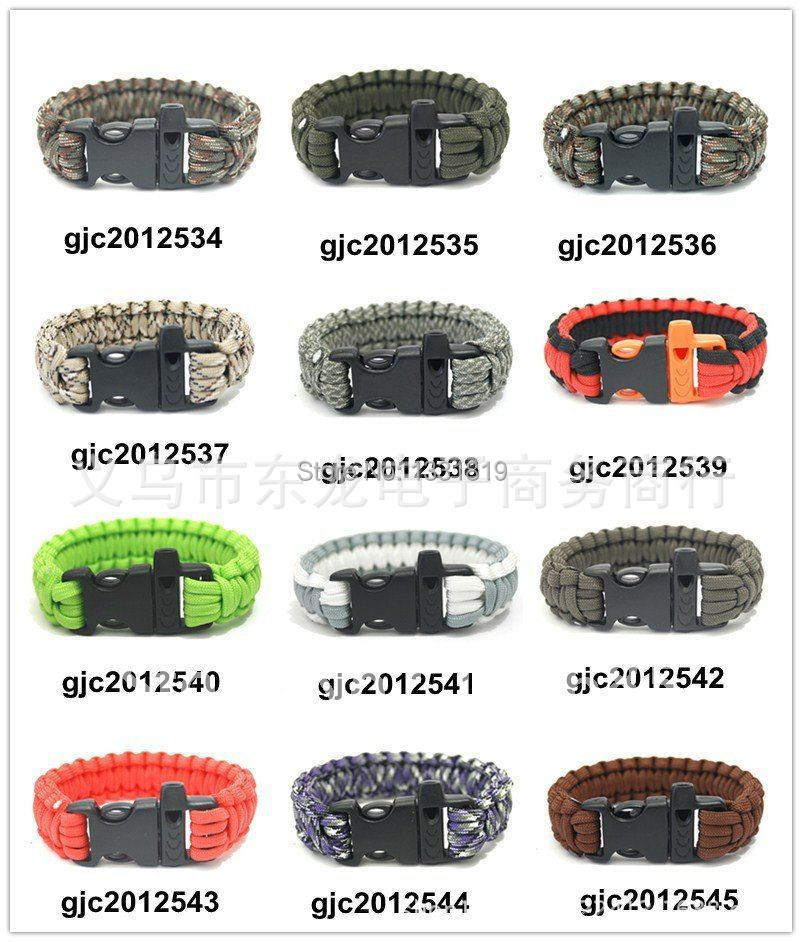 10pcs/lot New ParaCord Survival Bracelet Weave Handmade Stainless Steel Shackle Buckle Outdoor Camping Survival Kits