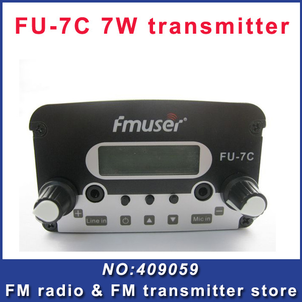 FU-7C 7w broadcast fm radio transmitter silver black fm radio transmitter FM exciter(China (Mainland))