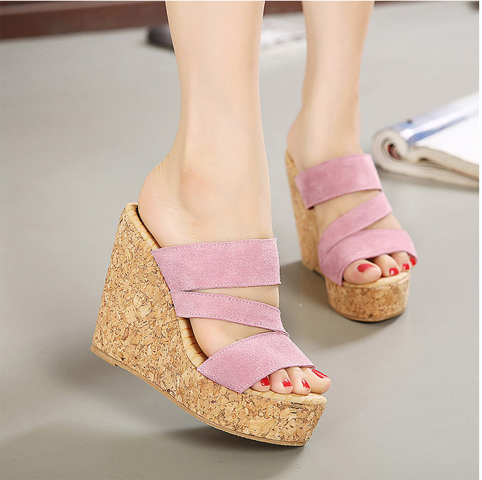 magazine Japanese han edition frosted leather wedge sandals cool slippers on the second floor, 550-8(China (Mainland))
