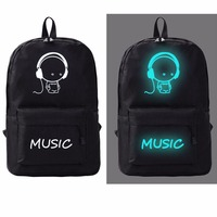 Outdoor Canvas Reflective Backpack Printing Galaxy Luminous Girl & Boy Traveling SchoolBag for Teenagers
