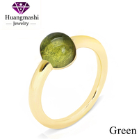 Exquisite Pretty Crystal Yellow Gold Plated Rings Women Wedding Jewelry Best Gift P020