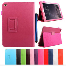 for ipad Air 2 for ipad 6 Tablet Case Fashion Solid PU Leather Holder Stand Flip Folio Protective Cover +one stylus gift(China (Mainland))