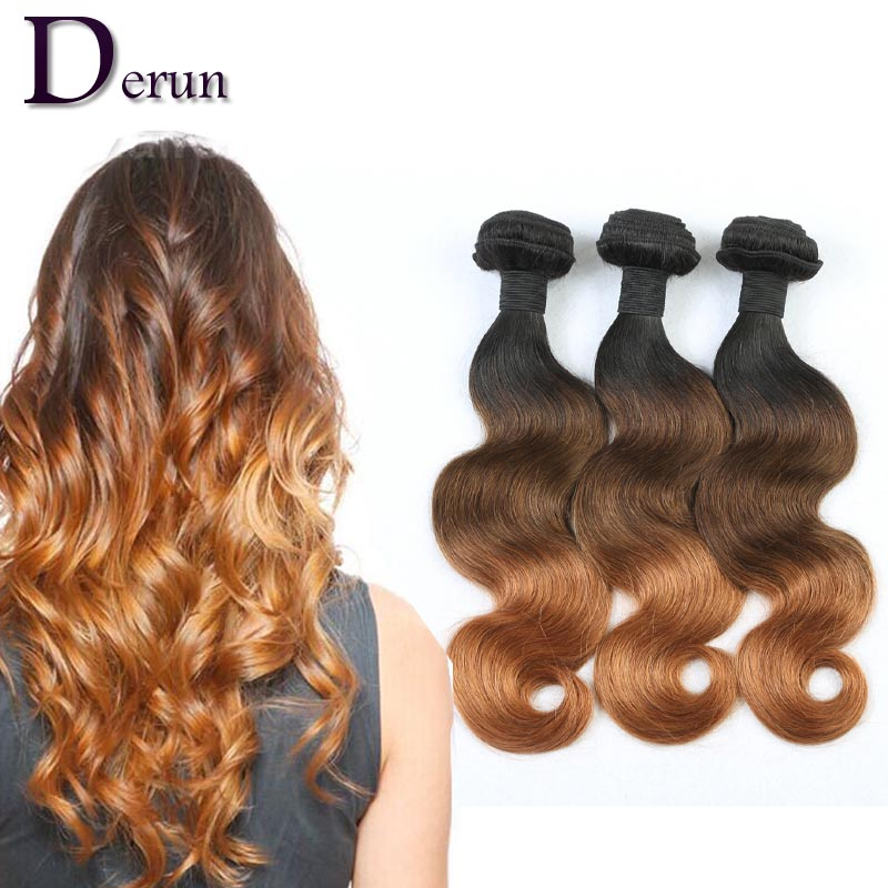 Ombre Hair Extensions Body Wave Brazilian hair 1B/4/30 Human Weave Bundles 3Tone Fast Shipping Derun - China Factory store