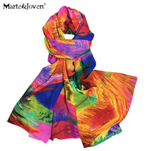 2015 bohemia colorful feather print long scarf for women tassel lovely new brand designer rainbow scarf(China (Mainland))