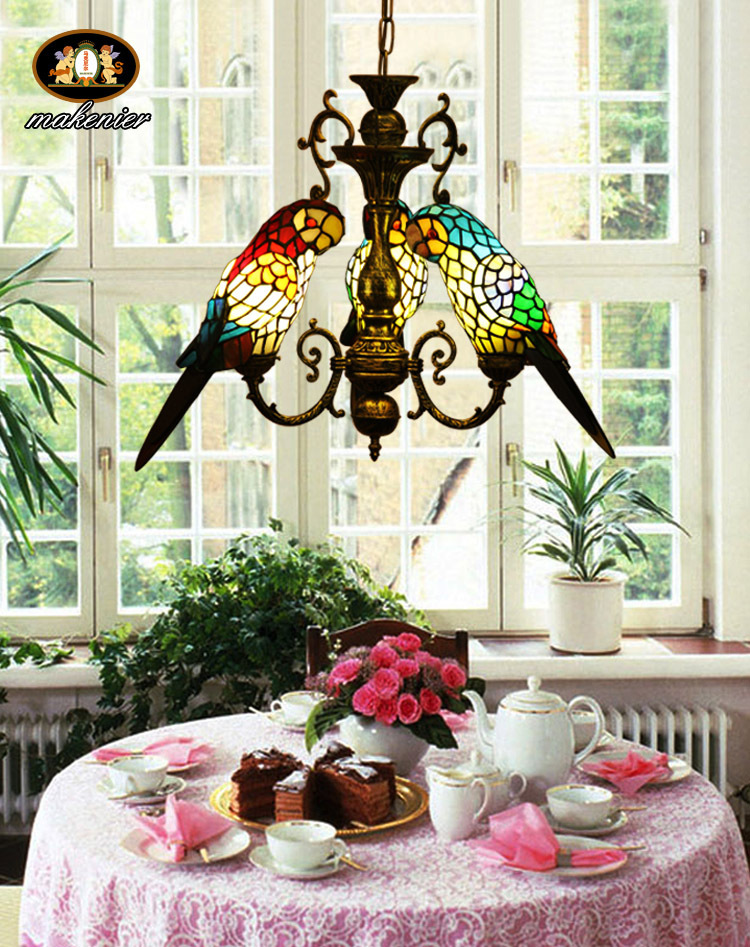 TIFFANY CHANDELIER ! STAINED GLASS THREE PARROTS PENDANT LAMP(China (Mainland))