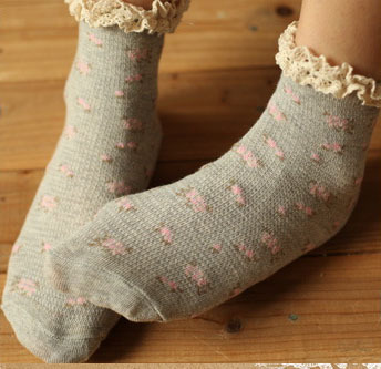 2015 New Women Cute Socks Female All match Sweet Print Short Cotton Ankle Novelty Color Socks Japanese Mori Girl Lace hosiery(China (Mainland))