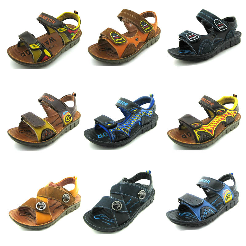 2015 summer children's shoes boys genuine leather sandals kids footwear real leather shoes cow cattle leather beach sandals(China (Mainland))