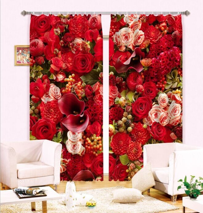 New Fashion 3D Curtains Polyester 100% Shading Never Fade Glamorous Various Flowers Printing(China (Mainland))