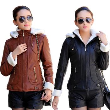 Осень зима кожа куртка женщины закрытый воротник утолщаются тёплый полиуретан кожа ...