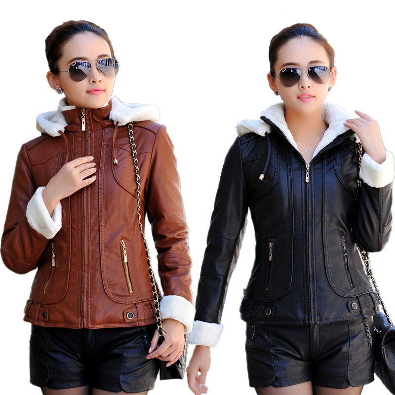 2015 Autumn Winter Leather jacket women Hooded Thicken Warm PU Leather Coat Women Faux Leather Jacket Female High Quality