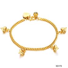Free Shipping Fashion Jewelry 18K Rose Gold Heart Pendant Twisted Round Gold Jewelry Gold Chains Wedding Bracelets ks173(China (Mainland))