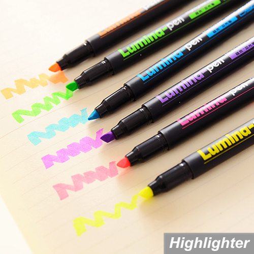 6 pcs/Lot Lumina pens Highlighter for paper copy fax DIY drawing Marker pen Stationery office material School supplies 6718(China (Mainland))