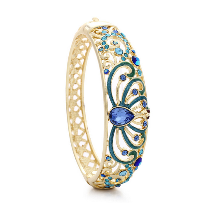 Antique Turquoise Blue Filigree Enamel Bangle Bracelet Raindrop Austria Crystal Hinged Bangle For Women Fashion Jewelry BSL66(China (Mainland))