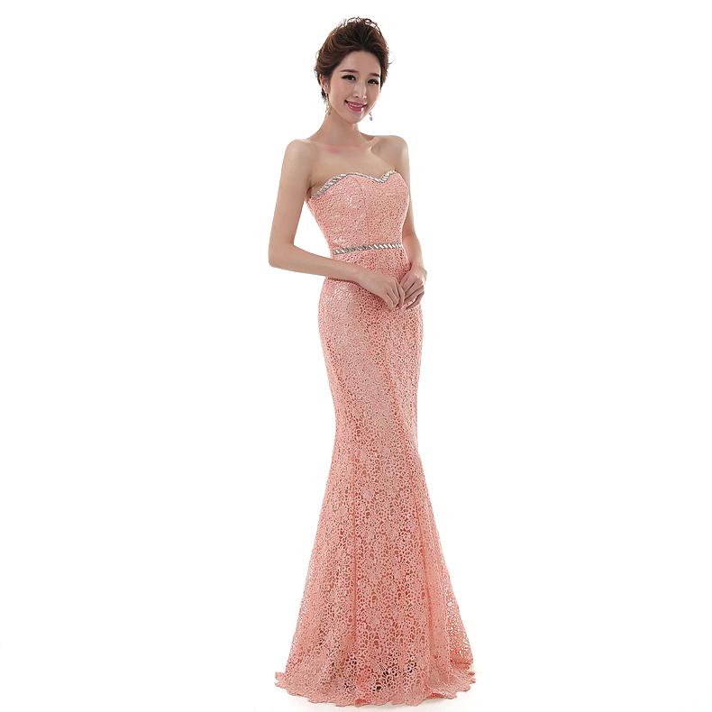 Blush Pink Plus Size Bridesmaid Dresses : Pink mermaid bridesmaid dress lace sweetheart with beading