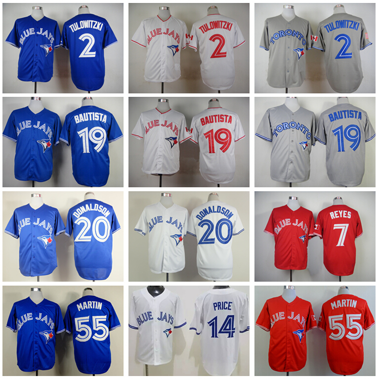 New Style Toronto Blue Jays Troy Tulowitzki Jersey 2 Baseball 7 Jose Reyes 14 Price 19 Jose Bautista 20 Josh Donaldson 55 Russel