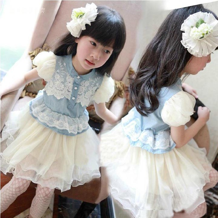 2016 Summer Children's Clothing Puff Sleeve Girls Denim Blue Multilayer Gauze Lace Tutu Princess Dress Kids Clothes 2-10age(China (Mainland))