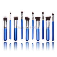 10 pcs blue with silver Synthetic Makeup Brush Set Cosmetics Foundation blending blush makeup tool free shipping