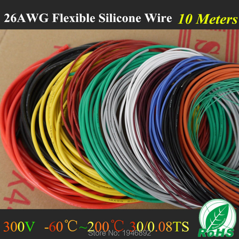 10M 32.8FT -26 AWG Flexible Silicone Wire RC Cable 26AWG 30/0.08TS Outer Diameter 1.5 With 10 Colors to Select<br><br>Aliexpress