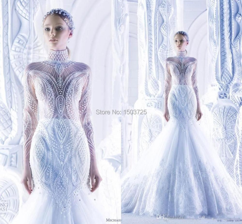 New arrival 2015 michael cinco mermaid wedding dresses for High neck wedding dresses