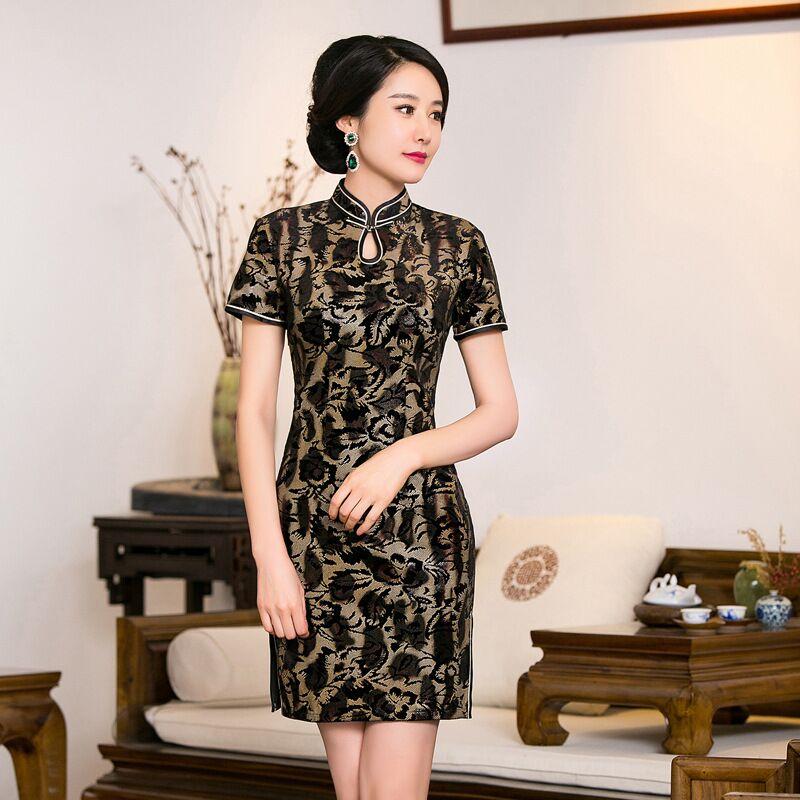 Clásico de Las Señoras Terciopelo Mini Venta Caliente Cheongsam Estilo Chino Tradicional Vestido Qipao Ropa Tamaño S M L XL XXL XXXL 275978(China (Mainland))