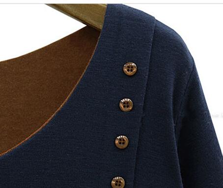 2015 European women's new loose irregular false two piece long sleeved T-shirt  -  kauilexiaodian store
