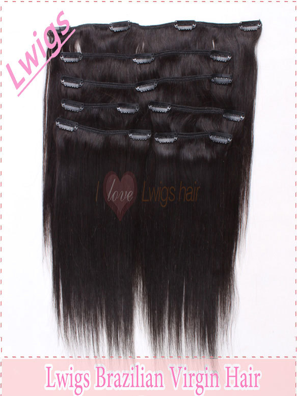 7pcs 100% Human hair silk straight clip in hair extensions 120g/ Free shipping human clip on hair extensions<br><br>Aliexpress
