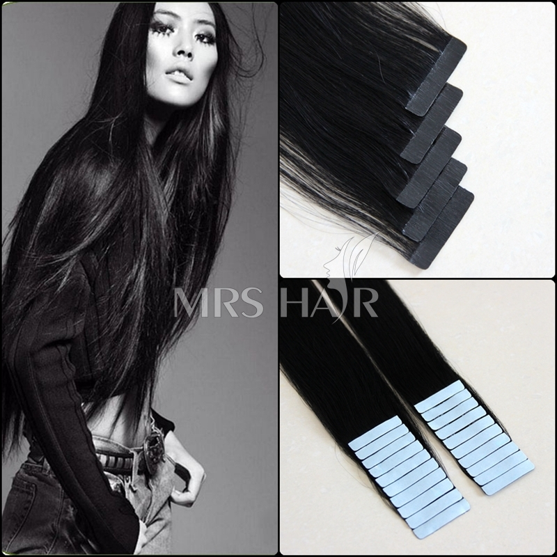 """1# 18"""" Jet black color tape hair Indian remy beauty velvet extensions 20pcs pk hot promotion 2015 Happy New Year Straight Hair(China (Mainland))"""